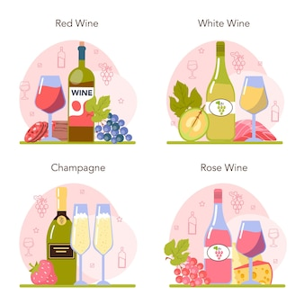 Wine concept set. grape wine in a bottle and glass full of alcohol drink. champagne, red, white and rose wine with appetizer. cheese, sausage, fish and strawberry. flat vector illustration
