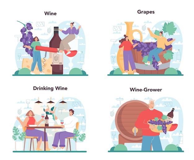 Набор винных концепций. виноградное вино в бутылке и стакане с алкогольным напитком. красное вино с закуской. отдельные векторные иллюстрации