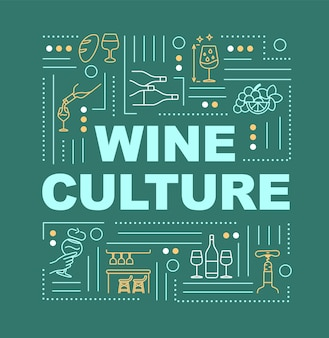 와인 문화 단어 개념 배너입니다. 포도 재배 전통. 와인 시음 이벤트. 녹색 배경에 선형 아이콘으로 인포 그래픽입니다. 격리 된 인쇄 술입니다. 벡터 개요 rgb 컬러 일러스트
