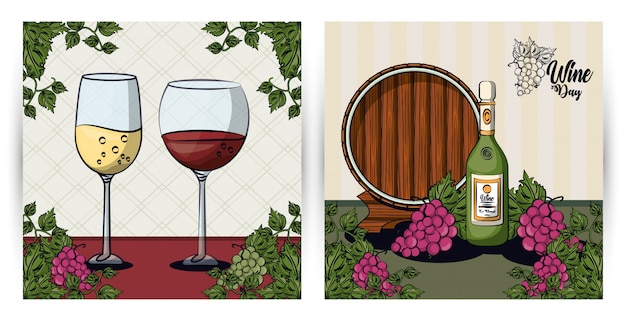 Wine cups and barrel with grapes fruits vector illustration design