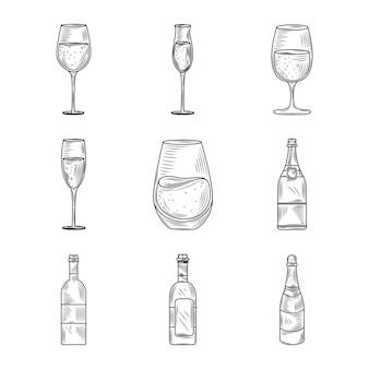 와인 일, 아이콘 설정 와인 글라스 컵 병 알코올 손으로 그린 디자인
