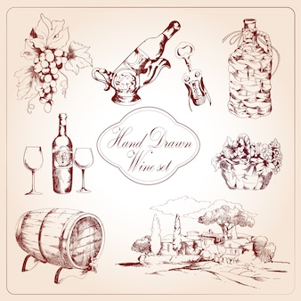 Wine decorative elements set