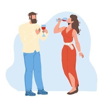 와인 degustation 소믈리에 남자와 여자 벡터입니다. 어린 소년과 소녀의 맛과 음주와 알코올성 포도 음료의 냄새. 방향족 액체 평면 만화 일러스트와 함께 문자