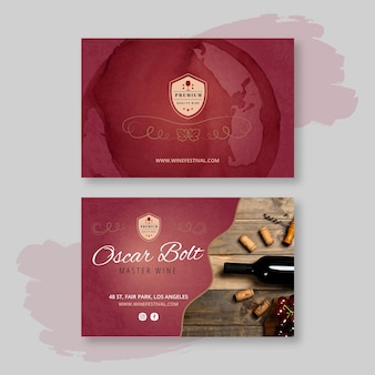 Wine double-sided horizontal business card