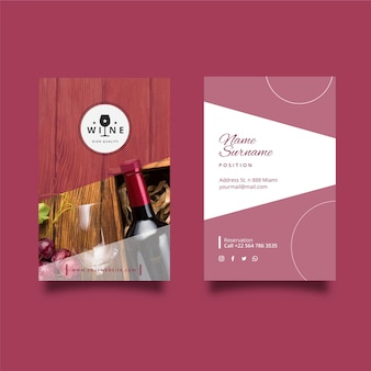 Wine double-sided vertical business card