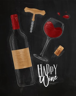 Wine elements illustrated bottle glass cork corkscrew lettering happy white drawing in vintage styl