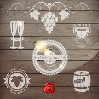 Wine emblems or logo in wood