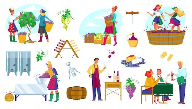 ワイン工場生産イラストセット