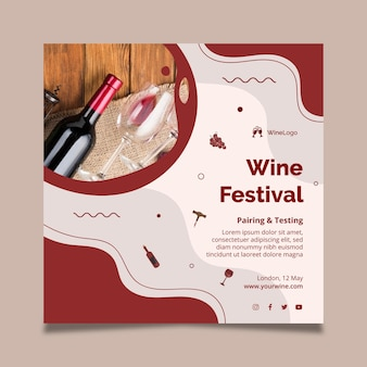 Шаблон квадратного флаера винного фестиваля