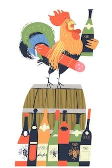 와인 축제 우리는 와인을 사랑합니다 보졸레 누보가 도착했습니다 벡터 일러스트 레이 션