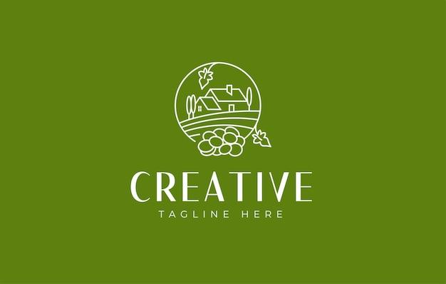 ワイン畑のブドウ園とワインセラーのロゴデザインアイコンテンプレート