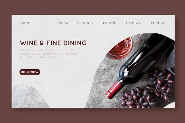 Wine and fine dining landing page template