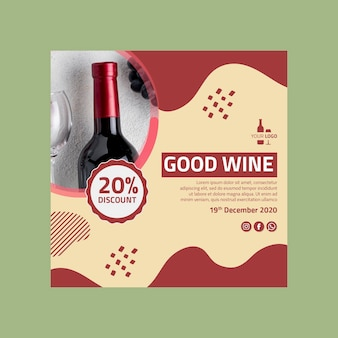 Wine flyer square template