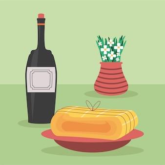 와인 음식과 꽃