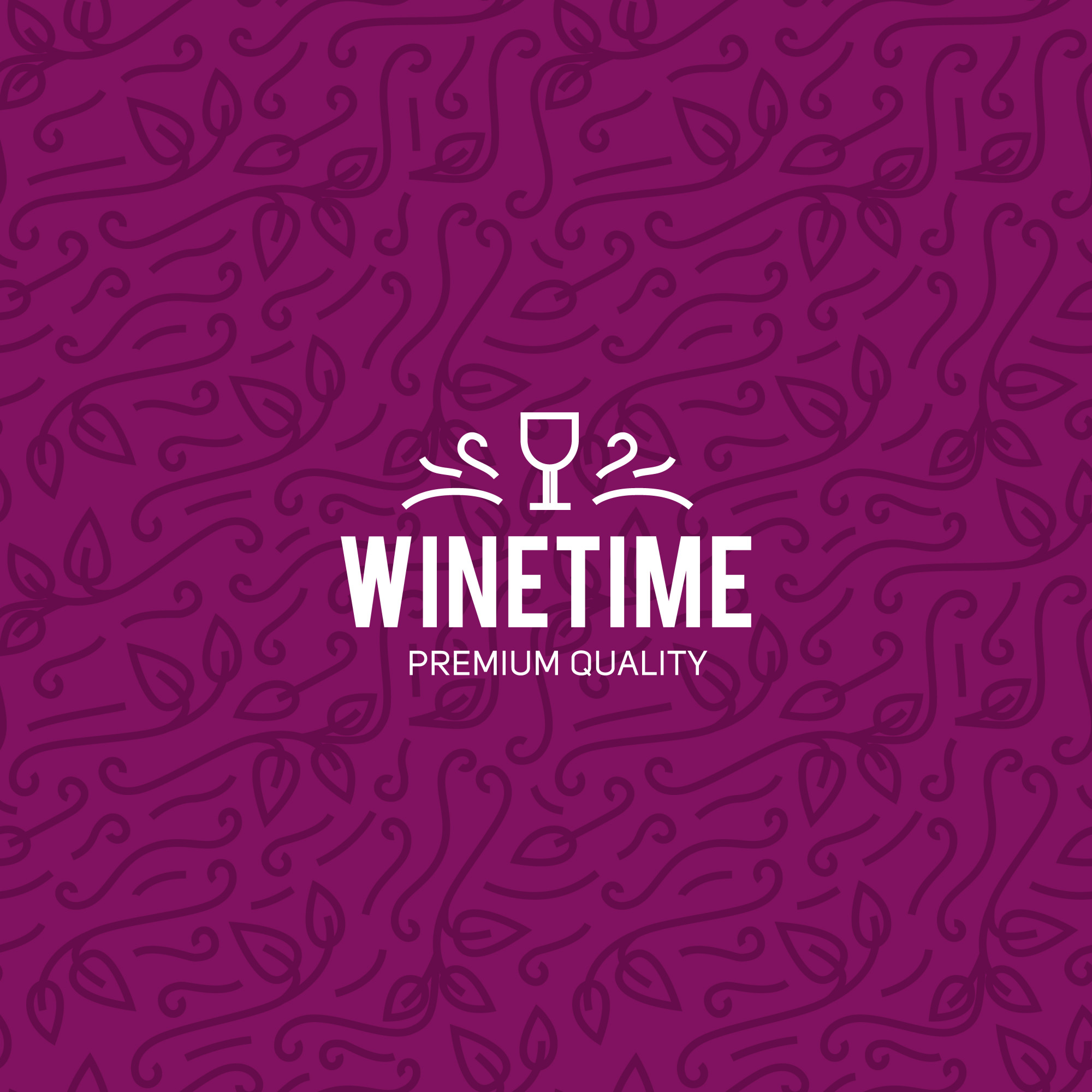 Wine glass and grapes vintage lettering background