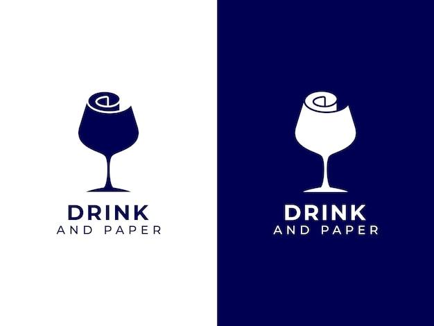 ワイングラスと紙のロゴのデザインコンセプト