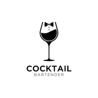 호화스러운 바 저녁 식사 대중음식점 웨이트리스 바텐더 로고 디자인을 위한 포도주 잔 나비 넥타이
