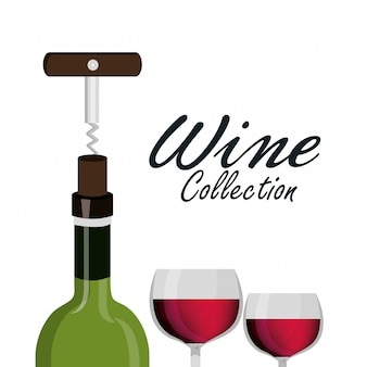 Wine glass corkscrew label design isolated