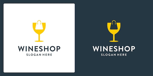 Wine glass logo shape inspiration and shopping bag logo. premium vector Premium Vector
