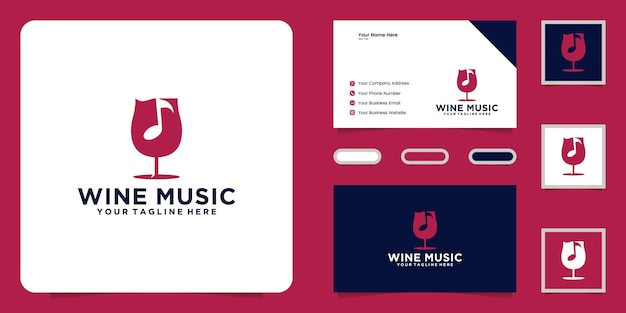 Wine glass music logo design and business card inspiration