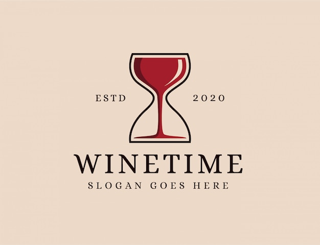Wine glass and sand time logo