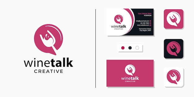 Wine glass with chat sign logo icon and business card design template