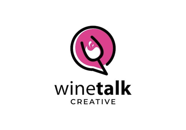 Wine glass with chat symbol, talk logo design template inspiration