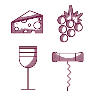 Wine glass with cheese, grape and corkscrew