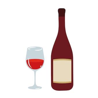 와인 잔과 병