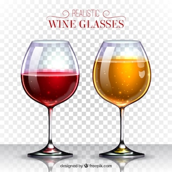 Wine glasses collection in realistic style