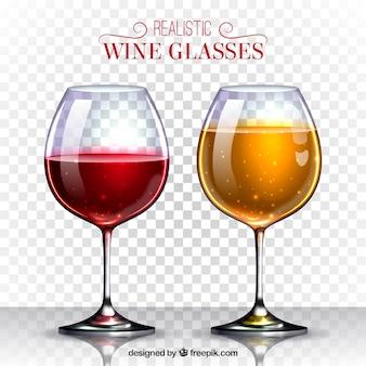 Collezione di bicchieri di vino in stile realistico
