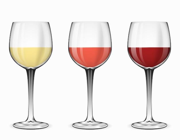 ワイングラス。白のイラストに赤ワイン、ロゼワイン、白ワインのグラス