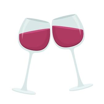 와인 잔 그림 흰색 배경에 고립
