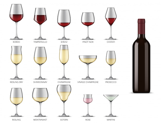 Wine glasses types, white and red wine drink cups