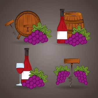 Wine house poster with barrel and grapes illustration