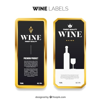 Wine labels with golden frame