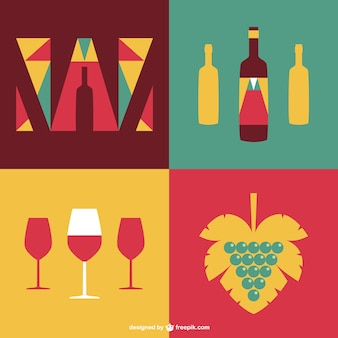 Wine labels with wine glasses and bottles