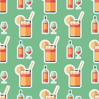 Wine and lemonade flat art seamless pattern.