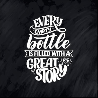 현대적인 스타일의 와인 글자 구성. 알코올 음료 바 음료 개념입니다.