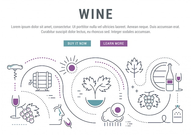 Wine linear banner