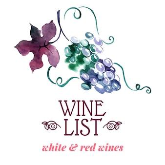 Wine list. hand drawn sketch and watercolor illustration. menu design