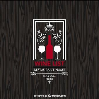 Wine list restaurant menu