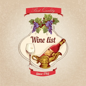 Wine list retro illustration