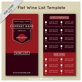 Wine list template in flat style