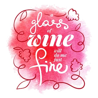 Wine list typographic poster. watercolor hand drawn vector illustration. menu design