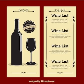 Wine list in vintage style