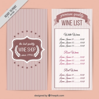 Wine list with striped background