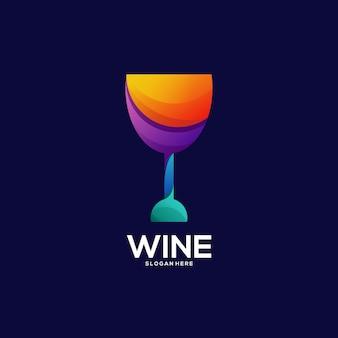 ワインのロゴのカラフルなグラデーションイラスト
