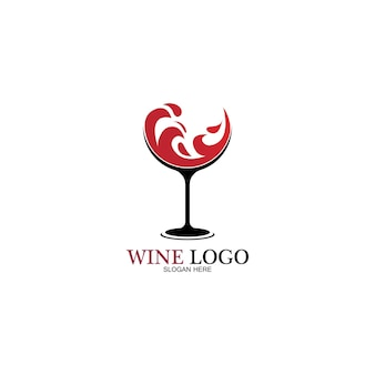 ワインのロゴデザインtemplate.vectorアイコンのイラスト-ベクトル