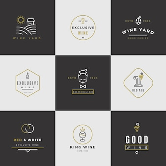 Набор винных логотипов. логотипы меню алкоголя с бутылками и стаканами